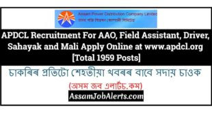APDCL Recruitment For AAO, Field Assistant, Driver, Sahayak and Mali Apply Online at www.apdcl.org