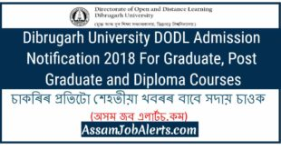 Dibrugarh University DODL Admission Notification 2018