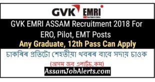 GVK EMRI ASSAM Recruitment 2018 For ERO, Pilot, EMT Posts - Any Graduate, 12th Pass Can Apply