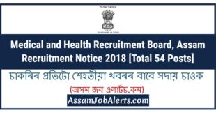 Medical and Health Recruitment Board, Assam Recruitment Notice 2018