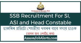 SSB Recruitment For SI, ASI and Head Constable