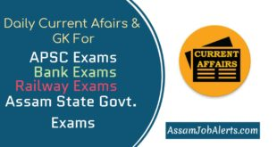 01 October 2018 - Current Affairs For Assam APSC, Railway, Bank and Assam State Govt Exams
