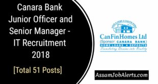 Canara Bank Junior Officer and Senior Manager - IT Recruitment 2018