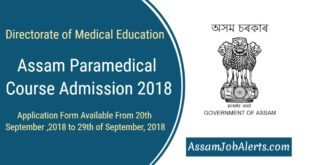 DME Assam Paramedical Course Admission 2018-2019 Notification