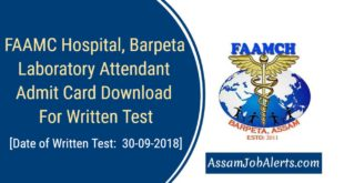 FAAMC Hospital, Barpeta Laboratory Attendant Admit Card Download For Written Test