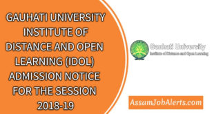 GAUHATI UNIVERSITY IDOL ADMISSION NOTICE FOR THE SESSION 2018-19