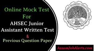 Online Mock Test For AHSEC Junior Assistant Written Test