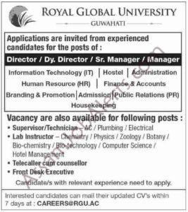 Royal Global University (RGU) Guwahati Recruitment 2018