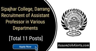Sipajhar College Assistant Professor Recruitment