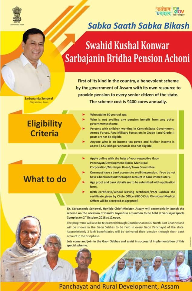 Swahid Kushal Konwar Sarbajanin Bridha Pension Achoni