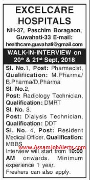 Excelcare Hospitals Guwahati Walk In Interview For Various