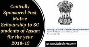 Centrally Sponsored Post Matric Scholarship to SC students of Assam for the year 2018-19