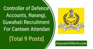 Controller of Defence Accounts, Narangi, Guwahati Recruitment For Canteen Attendant