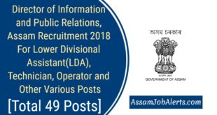 Director of Information and Public Relations, Assam Recruitment