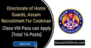 Directorate of Home Guards, Assam Recruitment For Cookman