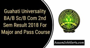 Guahati Universality BAB ScB Com 2nd Sem Result 2018 For Major and Pass Course