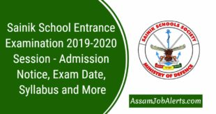 Sainik School Entrance Examination 2019-2020 Session - Admission Notice
