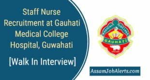 Staff Nurse Recruitment at Gauhati Medical College Hospital, Guwahati
