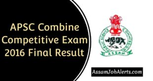 APSC Combine Competitive Exam Final Result 2016