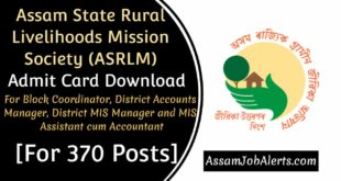 Assam State Rural Livelihoods Mission Society (ASRLM) Admit Card Download