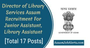 Director of Library Services Assam Recruitment 2018 For Junior Assistant