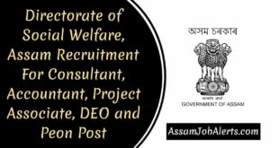 Directorate of Social Welfare, Assam Recruitment For Consultant