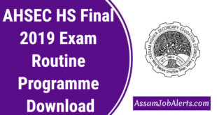 AHSEC HS Final 2019 Exam Routine Programme Download