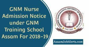 GNM Nurse Admission Notice under GNM Training School Assam For 2018-19