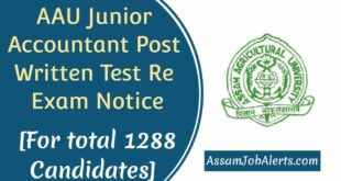 AAU Junior Accountant Post Written Test Re Exam Notice