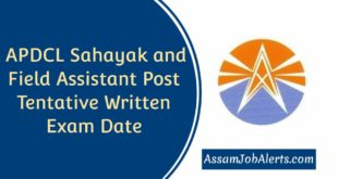 APDCL Sahayak and Field Assistant Post Tentative Written Exam Date