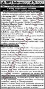 NPS International School Recruitment 2019