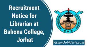 Recruitment Notice for Librarian atBahona College, Jorhat