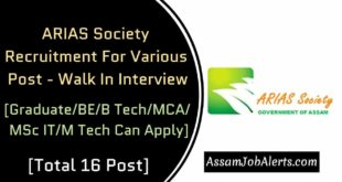 ARIAS Society Recruitment For Various Post