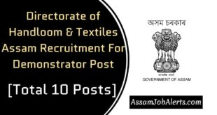 Directorate of Handloom & Textiles Assam Recruitment For Demonstrator Post