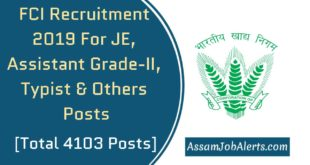 FCI Recruitment 2019 For JE, Assistant Grade-II, Typist