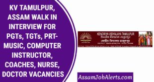 KV TAMULPUR, ASSAM WALK IN INTERVIEW FOR PGTs, TGTs, PRT- MUSIC, COMPUTER INSTRUCTOR, COACHES, NURSE, DOCTOR VACANCIES
