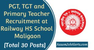 PGT, TGT and Primary Teacher Recruitment at Railway HS School