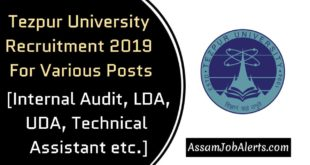 Tezpur University Recruitment 2019 For Various Posts