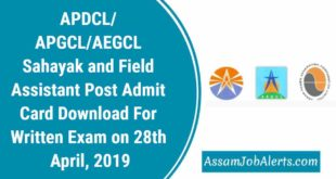 APDCL Sahayak and Field Assistant Post Admit Card Download For Written Exam on 28th April, 2019