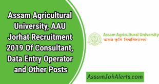 Assam Agricultural University, AAU Jorhat Recruitment 2019 OfConsultant, Data Entry Operator and Other Posts.