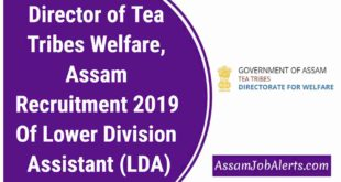 Director of Tea Tribes Welfare, Assam Recruitment 2019 Of Lower Division Assistant (LDA)