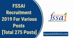 FSSAI Recruitment 2019 For Various Posts [Total 275 Posts]