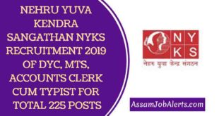 NEHRU YUVA KENDRA SANGATHAN NYKS RECRUITMENT 2019 OF DYC, MTS, ACCOUNTS CLERK CUM TYPIST FOR TOTAL 225 POSTS