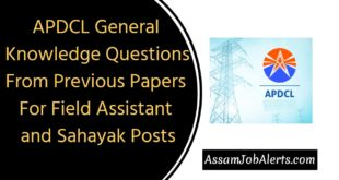 APDCL General Knowledge Questions From Previous Papers for Field Assistant
