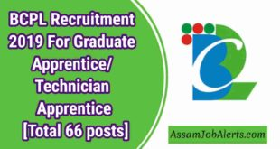 BCPL Recruitment 2019 For Graduate Apprentice/ Technician Apprentice [Total 66 posts]