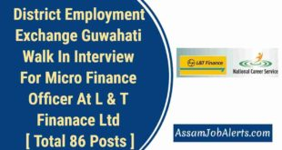 District Employment Exchange Guwahati Walk In Interview For Micro Finance Officer At L & T Finanace Ltd