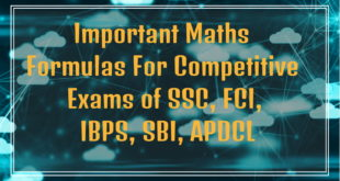 Important Maths Formulas For Competitive Exams