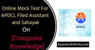 Online Mock Test For APDCL Filed Assistant and Sahayak Computer Knowledge
