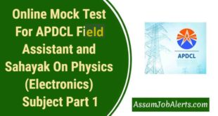 Online Mock Test For APDCL Field Assistant and Sahayak On Physics (Electronics) Subject Part 1