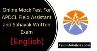 Online Mock Test For English APDCL Field Assistant and Sahayak Posts